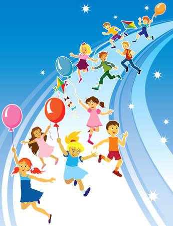 Grupo colorido de la diversión de los niños que va desde el cielo