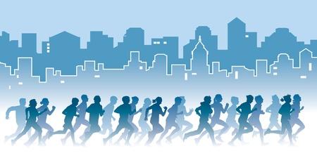 donna che corre: Folla di giovani in esecuzione su una strada illustrazione vettoriale Sport
