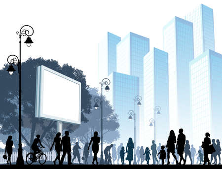 parejas caminando: Multitud de personas caminando en una calle. Vectores
