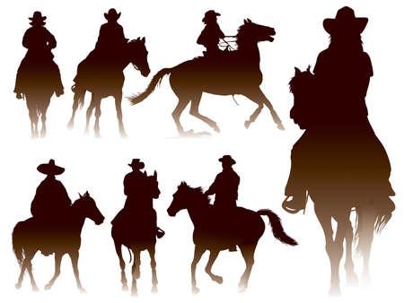 jinete: Colección de siluetas cabalgatas Vectores