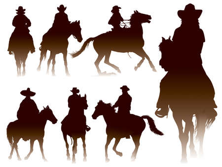 horse riding: Collection of horseback riding silhouettes