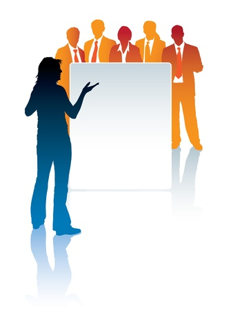 black lady talking: Woman standing in front of a poster, and a group of businesspeople is behind the poster
