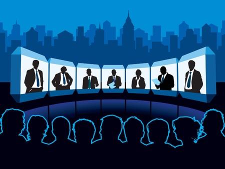 spectators: Multitud de espectadores mirando conferencia virtual