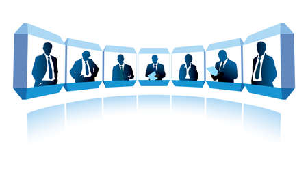 virtual office: Group of successful businesspeople having a video conference  Illustration