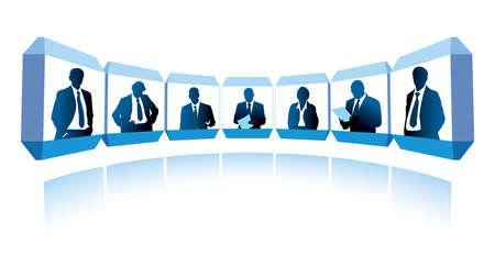 publicity: Grupo de empresarios exitosos que tiene una videoconferencia
