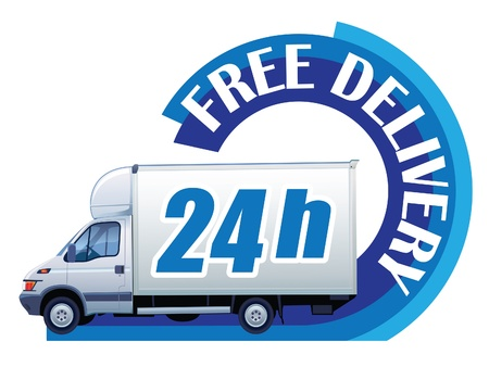 delivery truck: White delivery truck in a sign free delivery Illustration