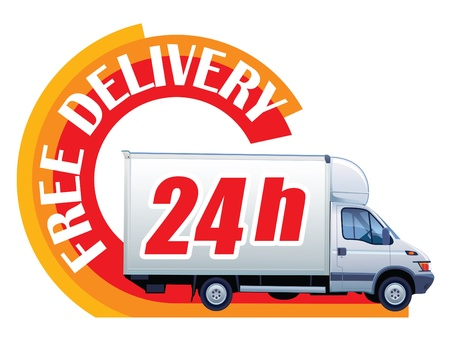 White delivery truck in a sign free delivery Stock Vector - 14961347