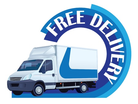 panel van: White delivery truck in a sign free delivery Illustration
