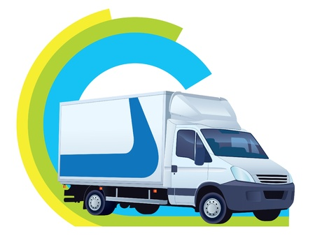 White delivery truck in a delivery sign Stock Vector - 15058180
