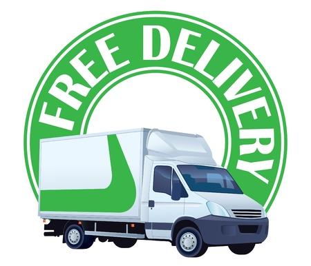 Weiß Lieferwagen in einem grünen Schild - Lieferung frei Haus