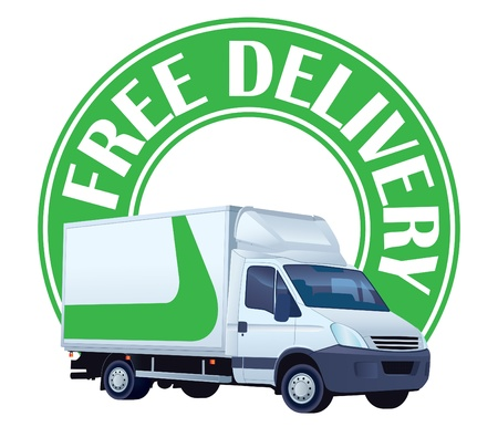 delivery truck: White delivery truck in a green sign - free delivery