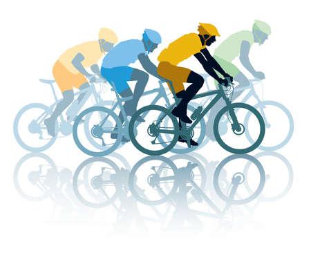 cyclist: Groep van fietser in de wielerwedstrijd. Sport illustratie
