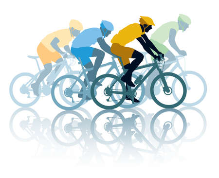cyklist: Gruppen cyklist i cykelloppet. Sport illustration Illustration