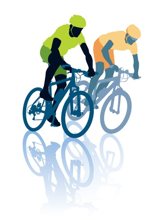 Two cyclists in the bicycle race. Sport illustration. Vector