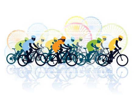 andando en bicicleta: Grupo de ciclistas en la carrera de bicicletas. Ilustraci�n del deporte