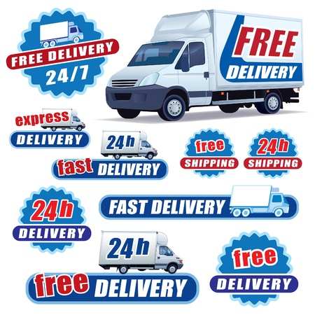 Set of blue delivery signs with trucks and stars Vector