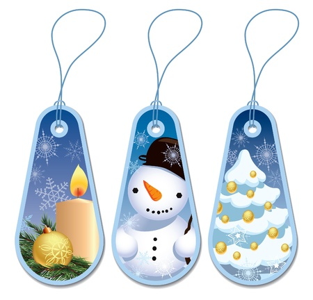 Set of three blue Christmas gift tags Vector