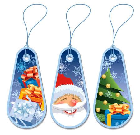 weihnachten zweig: Set von drei blauen Weihnachtsgeschenk Tags