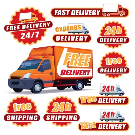 freight: Set of red delivery signs with trucks and labels Illustration