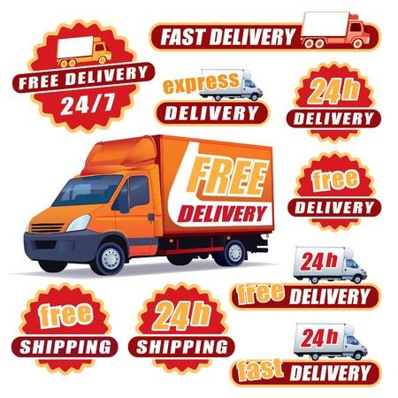 Set von roten Lieferung Schilder mit Lastwagen und Etiketten Illustration