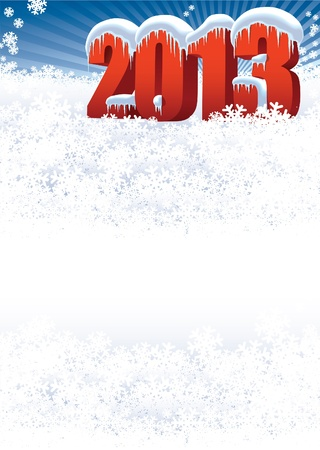 New Year 2013 on white winter background for your message Vector