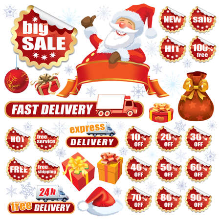 new sale: Collection of red stickers and Christmas design elements Illustration