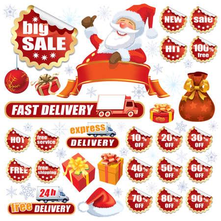 Sammlung von roten Aufklebern und Weihnachten Design-Elemente Illustration