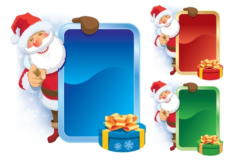 Smiling Santa Claus with blank poster pointing at you Stock Vector - 15770408