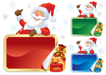 blank poster: Smiling Santa Claus with big blank poster.