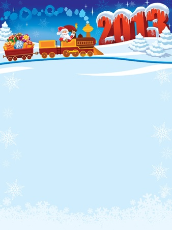 Santa Claus in a toy train with gifts, New Year in the background. Illustration