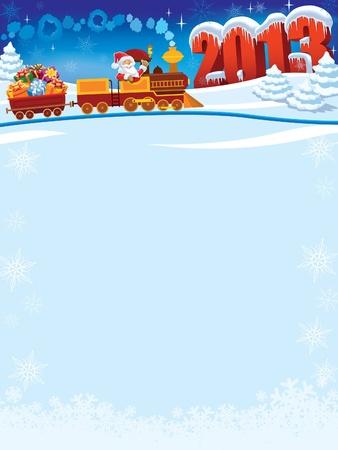Santa Claus in eine Spielzeugeisenbahn mit Geschenken, Neujahr in den Hintergrund. Illustration