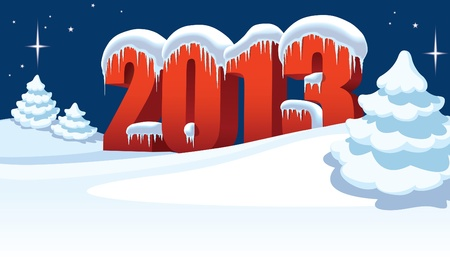 New Year 2013 and Christmas trees on winter white background Vector