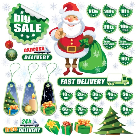 Collection of green stickers and Christmas design elements Vector
