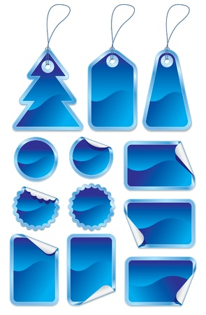 christmas gift tag: Collection of blue stickers and labels on white background Illustration