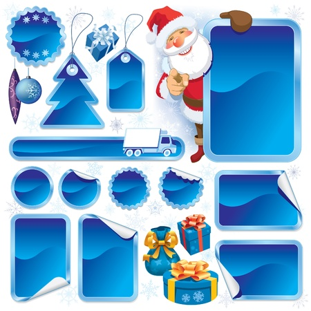 Collection of blue stickers and Christmas design elements Vector