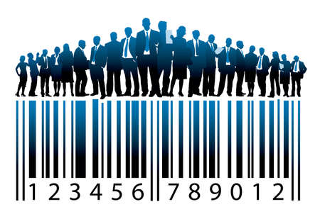 Crowd of businesspeople are standing on a large barcode Vector