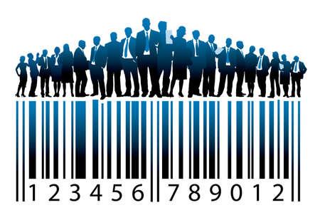 codigos de barra: Multitud de hombres de negocios de pie sobre un código de barras grande