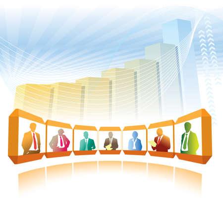 Gruppe Geschäftsleute mit Videokonferenz, ein großes Diagramm im Hintergrund
