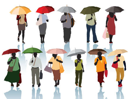 Collection of silhouette - people walking with umbrellas.  Vector