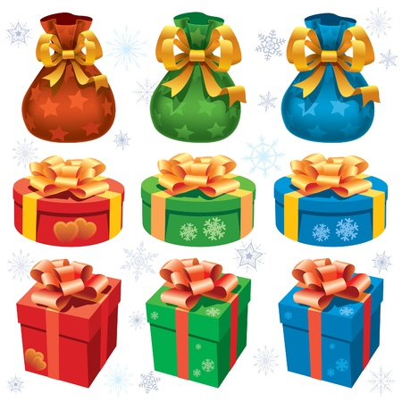 blue box: Collection of colorful christmas gifts on white background