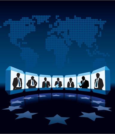 Gruppe Geschäftsleute mit Videokonferenz, eine große Weltkarte im Hintergrund
