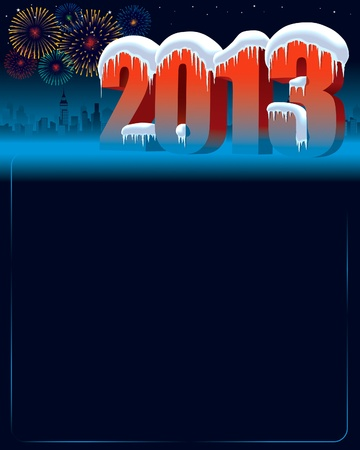 New Year 2013 at winter night with city in the background Stock Vector - 16007830