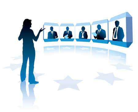 business conference: Group of successful businesspeople having a videoconference