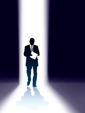 One successful businessman comes through bright gap Vector
