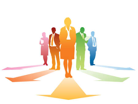 new direction: Five silhouettes of successful businesspeople, everyone has own direction. Illustration