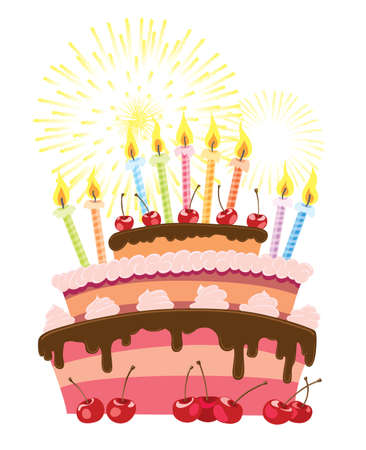 torta candeline: Torta di compleanno colorato isolato su sfondo bianco Vettoriali