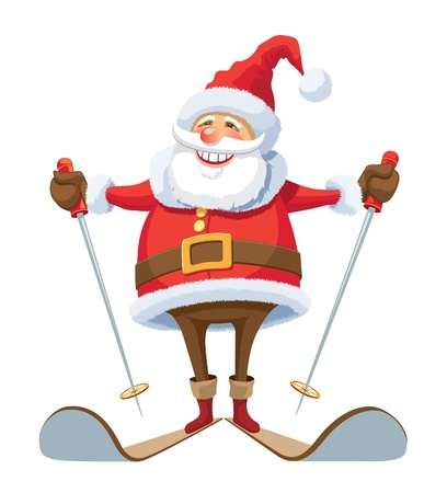 Smiling Santa Claus skiing, over white background. Vector