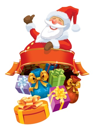 Happy Santa Claus with blank banner and christmas gifts. Vector