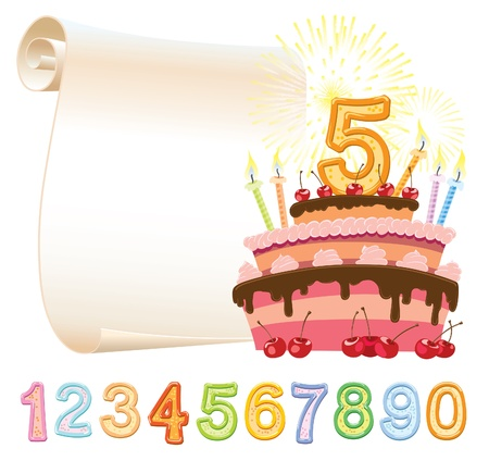 five elements: Colorful birthday cake over sheet of paper