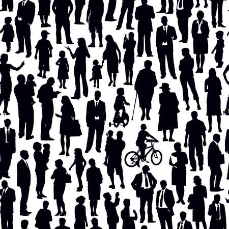 Pattern - crowd of people walking on a street. Illustration